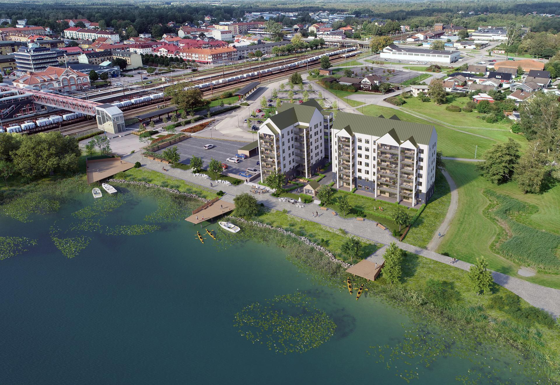 Översiktsbild Brf Sjöparken i Alvesta. Inspirationsbild, avvikelser kan förekomma.