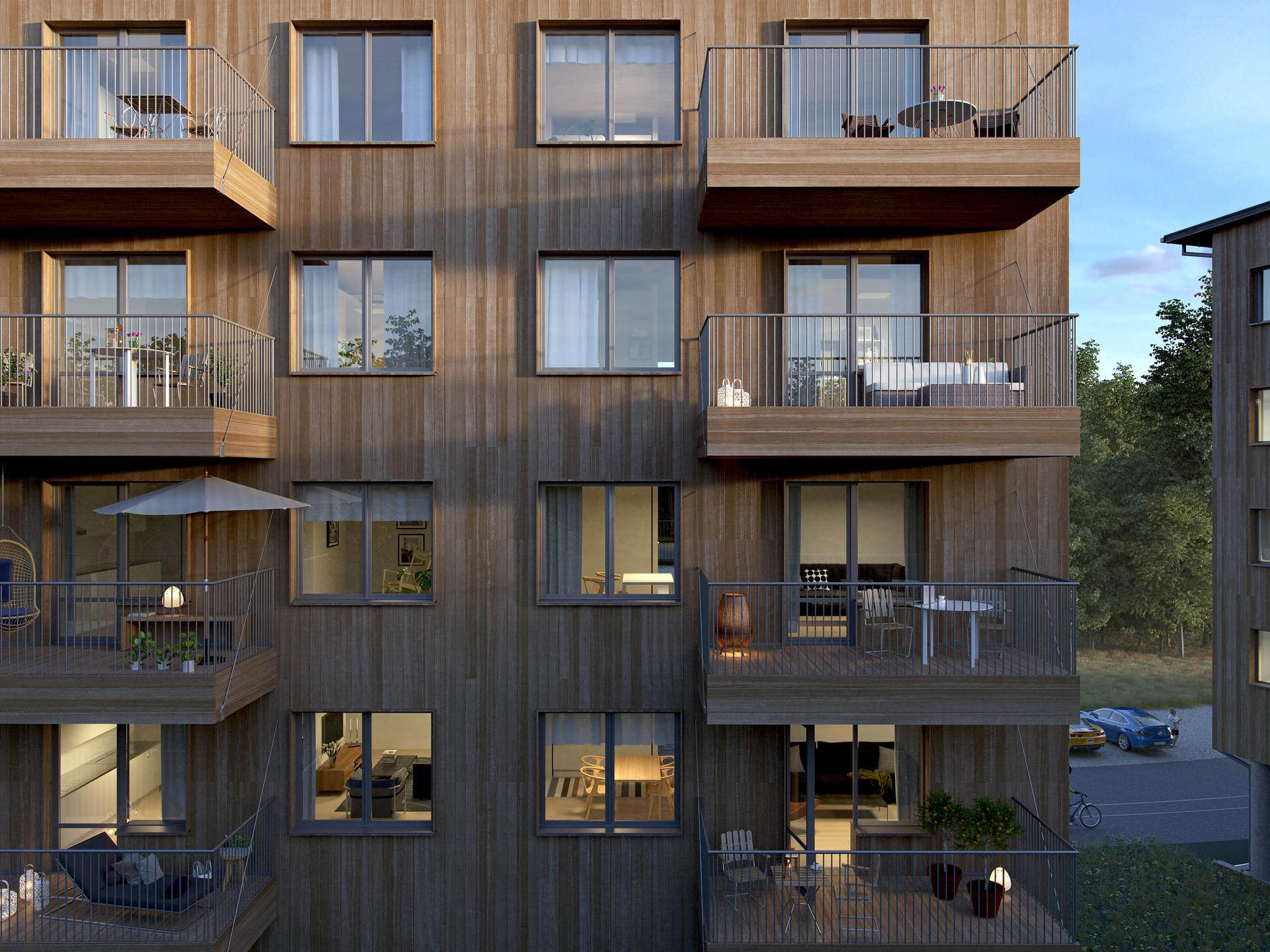 Alla lägenheter har en generöst tilltagen balkong om ca 9 kvadratmeter mot den natursköna omgivningen. Illustrationsbild, avvikelser kan förekomma.